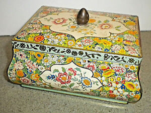 Vintage Tin Container Box w/Lid Yellow Bright Colors (Made in Holland)