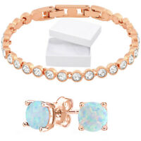 18K Rose Gold Plated Fire Opal Earrings and Tennis Bracelet