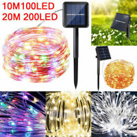 20M Solar Powered Copper Wire Light String 200LED Fairy Lights Xmas Party Decor