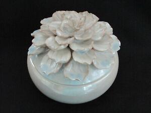 "Three Hands Corp Large White Ivory Flowered Lid  7.5"" Porcelain Box Jar"