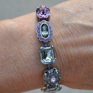 Mariana Handmade Swarovski Crystal Pink/Grey/Hematite Bracelet NWOT