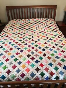 Cathedral Window Quilt Hand pieced/quilted 83x75 Excellent Vintage