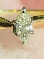 14K Real Gold with Marquise Cut Real Diamond