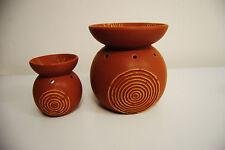 2 Duftlampen Keramik Pajoma Wellness für Duft Öl Teelichter 10-15 cm Neu braun
