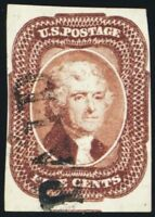 12, Used 5¢ VF Four Margin Stamp! Cat $675.00 - Stuart Katz