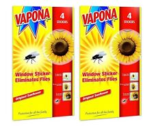 8 x Vapona Fly Killer Sunflower Window Stickers Eliminates Flies Pack of 2