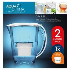 Aqua Optima Oria Carafe d'eau filtrante avec 1 Evolve 60 Jour Filtre à Cartouche, 2 mois