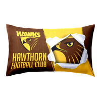 AFL Pillow Case - Hawthorn Hawks - Bed Pillowcase DOUBLE SIDED Print