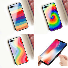 Tempered Glass Creative Rainbow Hot Soft Edge Case Cover Skin For Various Phones