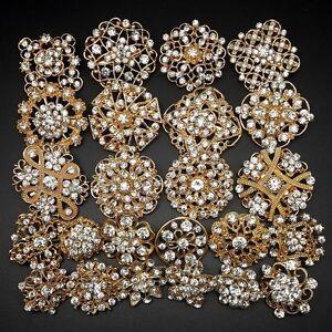 Lot 24 pc Mixed Alloy Golden Rhinestone Crystal Brooch DIY Wedding Bouquet