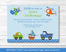 Car Truck Boat Airplane Helicopter Printable Birthday Invitation Editable PDF