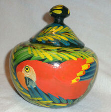 Vintage Handmade Wooden Covered Circular Box - Painted Parrot Bird Motif