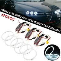 6x 85mm 90mm 95mm White LED CCFL Angel Eyes Halo Ring For Alfa Romeo 159