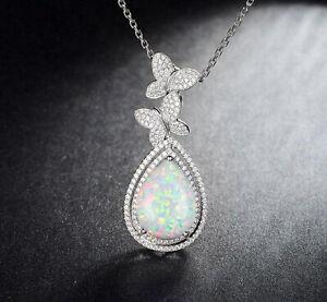 925 Silber Mit 1,85Ct Natürlich Australisch Opal Birne Form Solitär Anhänger