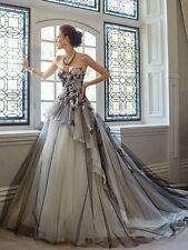 New Black Applique Wedding Dress Bridal Gown  Size 6- 18 UK