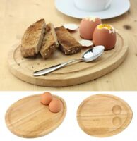 Rubberwood Breakfast Board Egg Shaped Serving Tray with Egg Holders Cups Toast