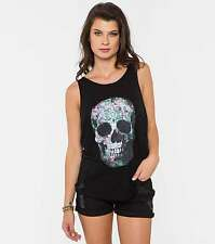 Cotton Blend Floral Sleeveless Graphic T-Shirts for Women