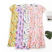 Women's Short Sleeve Oversize Sleep Shirt Nightgown 100% Cotton Nightshirt Dress