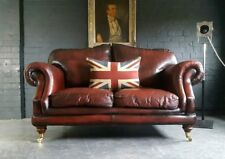 2008.Chesterfield Leather vintage & distressed 2 Seater Red Sofa.