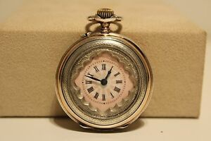 ANTIQUE HAND CARVED SMALL LADIES SOLID SILVER 800 SWISS POCKET WATCH/PINK DIAL