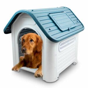ANIMEL Hundehütte mit Dachluke L Hundehaus Wetterfest für Indoor Outdoor PVC
