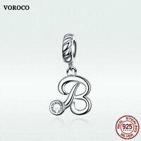 Voroco S925 Sterling Silver Letter  B Pendant Bead Charm CZ To Necklace Bracelet