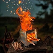 Wood Burning Folding Survival Emergency Stove Fatwood Lightweight Camping Gear