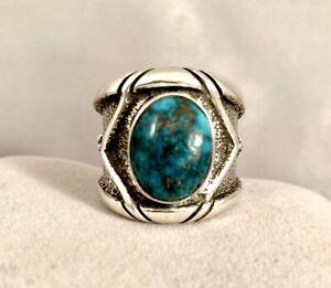 Navajo Tuffa Cast Candelaria Spiderweb Turquoise & Sterling Silver Ring