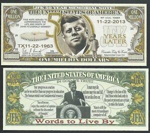 JFK Kennedy 50th Anniversary Million Dollar Bill Novelty Note with FREE SLEEVE