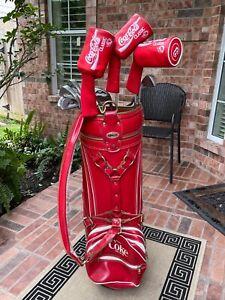 Vintage Ron Miller Coca Cola Coke Golf Bag with Complete Dunlop Golf Set