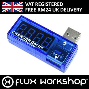 USB In line Current Voltage Monitor Charger Doctor Mini Micro Flux Workshop