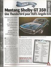 FICHE TECHNIQUE UN SIÈCLE D'AUTOMOBILE - LA MUSTANG SHELBY GT 350 DE 1969