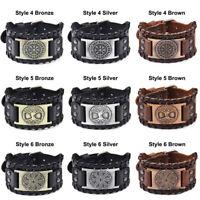 Mens Vintage Punk Viking Totem Wide Leather Bracelets Bangle Wrap Mens Wristband