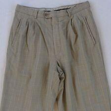 Zignone Men's Super 110's Wool Pleated Beige Plaid Pants - Tag 34/Actual 33x30.5