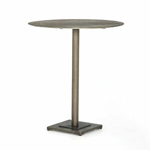 "36"" Tall Ermano Bar Side Table Iron Antique Nickel Finish Square Base Round Top"