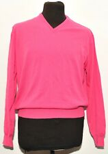 HACKETT ALL MERINO WOOL LIGHTWEIGHT V NECK PINK JUMPER SIZE MEDIUM