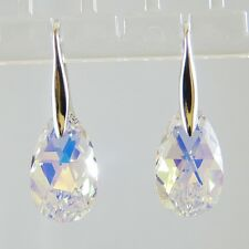 Sterling Silver Drop Earrings Use Swarovski Element AB Crystal Tear Drop Pendant