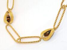 Technibond Tiger Eye Chain Necklace 14K Clad Silver 925