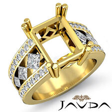 Diamond Engagement Stunning Huge Ring 18k Yellow Gold 1.25Ct Emerald Semi Mount