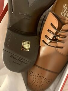 NWT Salvatore Ferragamo Titus Tan Brown Leather  Oxford Lace Up Shoes 9.5 EEE