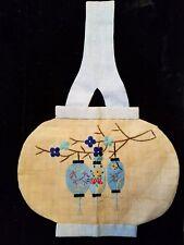 Purse Handbag Chinese Lantern Antique Linen Needlepoint Embroidery