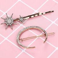 3Pcs Crystal Rhinestone Moon Star Hair Barrettes Hair Clips Women Girl Gift