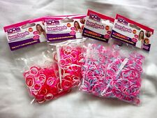 1200 Loom Bands Rubber Refill Neon Red Pink & White w/ hooks & s-clasps Bundle