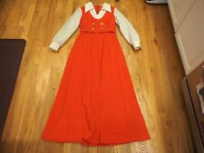 Awesome Vintage 70's Maxi Dress Montgomery Ward Red lace size 10 Long Buttons