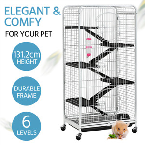 6 Levels 52''Metal Pet Ferret Cage Chinchilla Rabbit Squirrel Habitat w/ Wheels