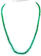 "43 Ct Natural Green Onyx Gemstone Rondelle Beads Necklace 17"" String - B271"