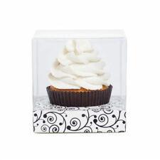 CLEAR SINGLE CUPCAKE BOX WITH Black & White FILIGREE Insert  x 6 Sets