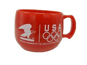 USPS  USA Red 1992 Olympic Team 10 Ounce Plastic Coffee Mug Cup