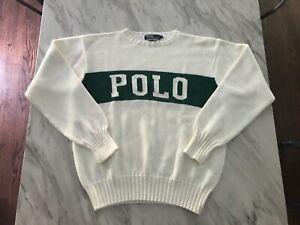 Vintage Polo Ralph Lauren Spellout Tennis Sweater USA sportsman rl2000 pwing