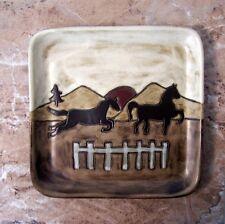 Horses Square Plate Mara Stoneware 8 Inch Plate Equestrian Pattern